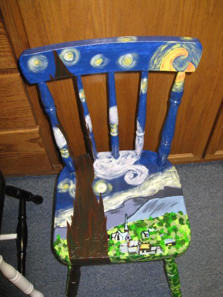 Starry Night  chair.   & Beatrice Public Schools - Fifth Grade paints chairs for Chair-ries ...